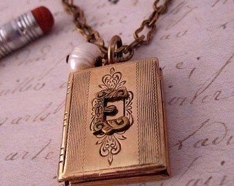 PERSONALIZED TEACHER GIFTS Appreciation Gift Monogram Necklace Book Locket Initial Jewelry A B C D E F G H I J K L M N O P Q R S T U V W Y Z