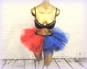 Harley quinn Suicide squad adult tutu skirt costume tutu red blue mini tutu halloween costume cosplay comic con costume edc edm rave tutu