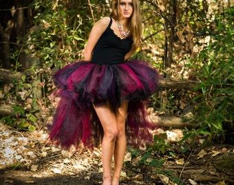 Adult high low tutu halloween costume edc edm rave costume witch tutu plum, burgandy, black  tutu skirt costume for women sexy halloween