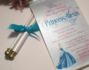 Princess scroll invitation Etsy