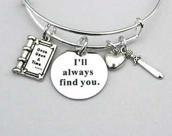 Once Upon A Time , Stainless Steel Charm I'll Always Find You , Charm Bangle, Never Never Land, Prince Charming / Snow,  TV Series  127