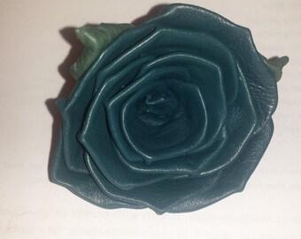 Dark Teal Lambskin Leather Rose Pin