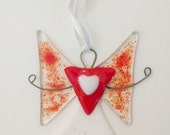 Fused Glass Angel Ornament - Valentines Gift - Suncatcher - Glass Art - Red Heart Angel - Holiday Decor - Religious Decor - Get Well Gift