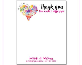 2 Personalized Notepads - Thank you Mom. You made a difference - Sets of 2 or 4