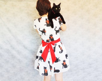 Stitch the Cat Dress - Red Sash Bow, Pleated, Retro, Black Cat Dress