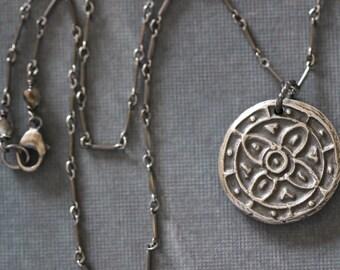 MANDALA COLLECTION:  Sterling Silver, Mandala, Pendant, Charm, Bar Link Chain, Yoga, Zen, Meditation, Mossy Creek
