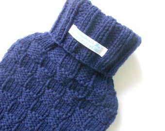 TheCraftyElks: Hand Knitted Hot Water Bottle Cover (Cosy) in Navy - Merino Wool Blend