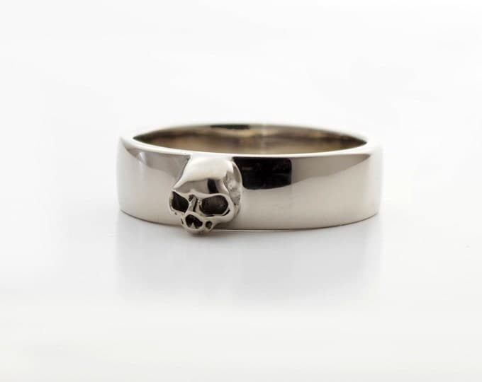 Grooms Skull Band Size 7 READY TO SHIP Skull Mens Wedding Ring Dainty Sterling Goth Grooms Band Psychobilly Wedding Set