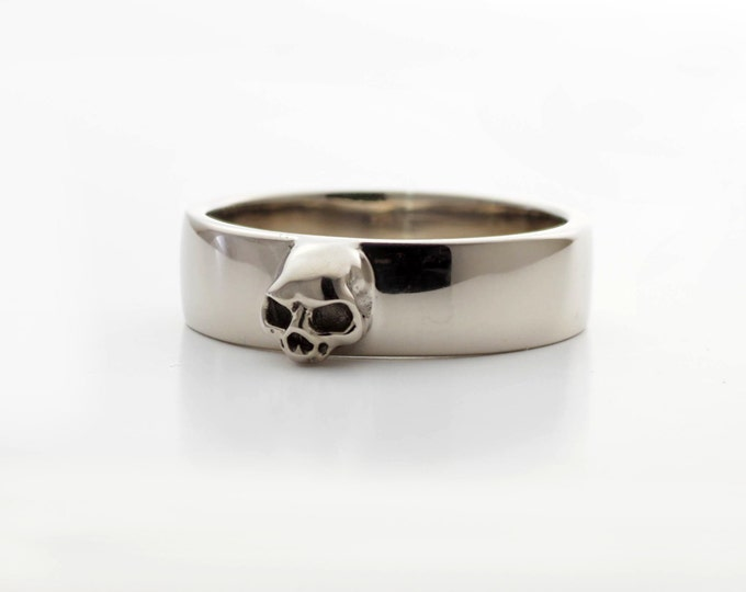Grooms Skull Band Size 6.75 READY TO SHIP Skull Mens Wedding Ring Dainty Sterling Goth Grooms Band Psychobilly Wedding Set