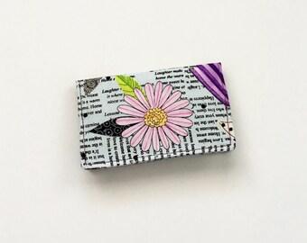 Floral Business Card Holder,  Purple Card Holder, Business Card Case, Credit Card Holder, ID Holder, Gift Card Holder