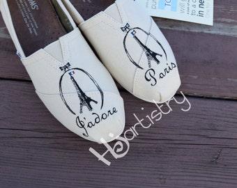 J'adore Paris Toms. Eiffel Tower Themed Toms. Hand painted Toms Shoes.