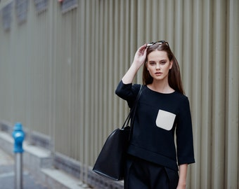Black Top / Minimalist Blouse / Black Minimalist Shirt / Office Top / Cocktail Blouse / Black Crop Top / Women's Blouses
