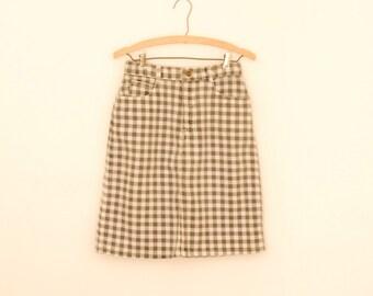 Black and White Gingham Print Denim Skirt - 1980s