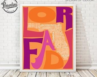 Florida Typography Map Print, Florida Art Print, Florida Wall Art, Florida Typographic Map, Custom Florida Map, FL Poster, FL Unique Gift