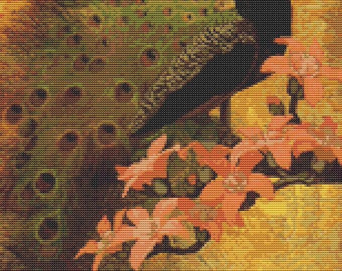 Cross Stitch Pattern PDF, Embroidery Chart, Art Cross Stitch, Bird Cross Stitch, Blue Peacock by Jessie Arms Botke (BOTKE01)