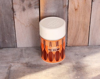 Thermos Brand Medium Soup Double Caps 10oz Size Orange Geometric 1970s Era Camp Thermos