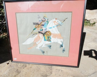Vintage Japaneese Warrior Painting on Silk Fabric Good Guy