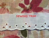 6 YARDS, WHITE Cotton, Flat Edging Sewing Trim, Embroidered Scallops, Oval Eyelets, 1 Inch Wide, L191