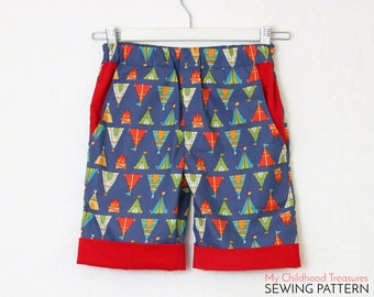 Boys SHORTS pattern pdf, boys pattern, girls shorts pattern, boys sewing pattern pdf, CUFF SHORTS