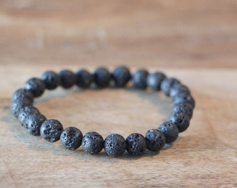 Matte Black Lava Rock Beaded Man Bracelet