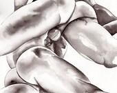 "PRINT of Original Art Work Watercolor Painting Gay Male Nude ""Black&white"""