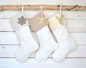 Christmas Stockings Set of 3 - Velvet Stockings, Personalized Stockings, Monogrammed Stockings, Ivory Tan Stockings