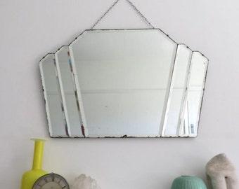 Vintage Large Art Deco Fan Shape Mirror