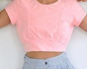 Vintage Cotton Crop Top // Light Pink 80's HOBIE Beach Shirt (Size Medium)