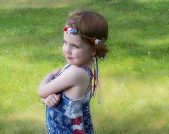4th of July Rose Flower Crown - July 4th Flower Crown - Rose Flower Crown Headband - Red White Blue Headband - Flower Headband - 4th of July