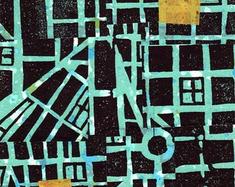 No Directions linocut relief print with Chine-collé (Indianapolis series)