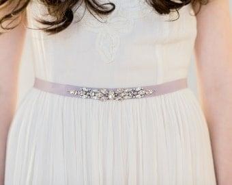Lavender Dress Belt, Blush Crystal Belt, Ivory Wedding Belt, Silver Belt, Grosgrain Sash, Gold Beaded Sash, White Bridal Dress Sash, DORTHEA
