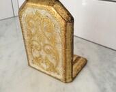 Gilt Florentine Bookend, Italian Florentine Decor, Vintage Florentine, Made in Italy, Vintage Gold Bookend