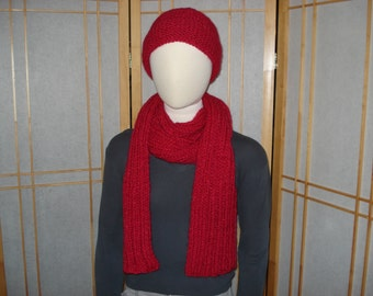 Bright Red Fuzzy Hat & Scarf Set