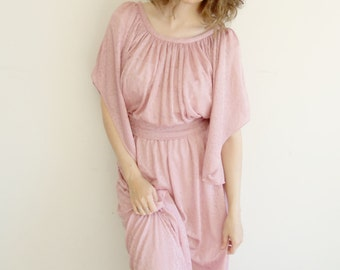 Vintage Light Mauve Hippie Goddess Rose Dress with Angel Wing Sleeves