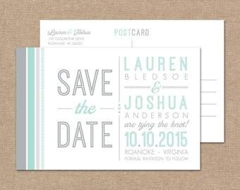 Modern Save the Date Postcard // DIY Save the Date Printable // Gray and Mint Wedding, Printable Save the Date Card