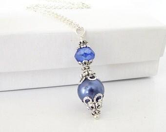 Cornflower Blue Bridesmaid Necklace, Periwinkle Weddings, Matching Bridal Sets, Blue Violet Necklace, Bridesmaid Gifts, Simple Wedding Sets