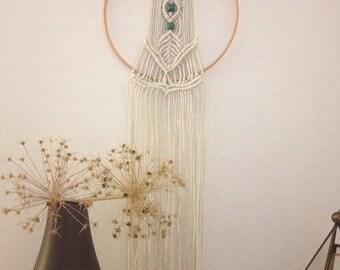 Macrame wall hanging, hoop with teal beads, boho decor, modern macrame, dreamcatcher, hoop art, bohemian home, wall hanging