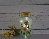 Sunflower Mason jar lantern,  handpainted
