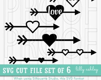 SVG Files Set of 6 arrow cut files-Commercial use ok! Includes PNG & JPG format also. Cut Files Arrow Heart svg arrow svg file arrow word