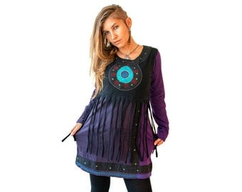 Full Sleeve Tribal Tunic Dress  - Mini Dress with fringes - Cotton Dress