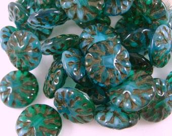Czech Beads, Czech Glass Flower Beads - Blue Green Dahlia Flower Bead (FL14/N-0723) - 14mm - Qty. 6