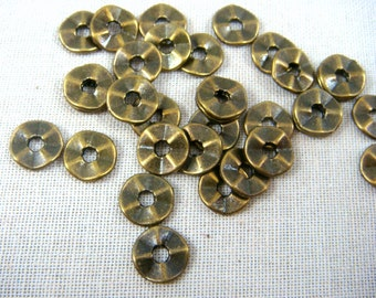 Spacer Bead - Wavy Spacer Bead (101871AB) - Antiqued Bronze, Brass - 7mmx1mm - Select Qty from Options