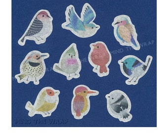 Bird Stickers - 10 Designs - 60 pieces - Watercolor Bird Flake Seals -Translucent peel and stick - 10 different designs