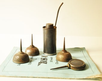 5 Vintage Lubricating Oil Tin Cans  - Singer