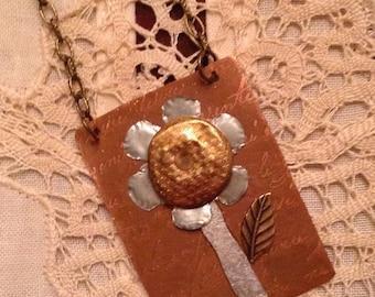 Bloom mixed media flower pendant