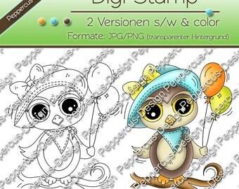 Digi stamp set - OWL with balloon / E0012