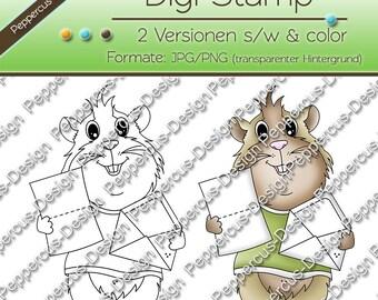 Digi stamp set - Guinea pig with letter / E0057