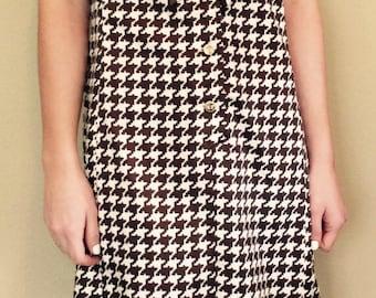 60s Dress//Vintage 1960s Saks Fifth Avenue Silk houndstooth print chocolate brown/cream polka dot/stripes sailor collar M