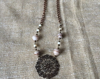 Vanilla glass beads + mother pearl necklace