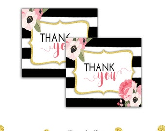 Pink and Gold Favor Tags, Floral Watercolor, Printable Tags, Labels, Black and White Stripes, Boho Party, Instant Download, Printable